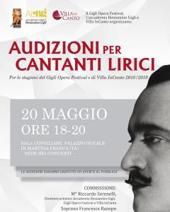 Audizioni Per Cantanti Lirici Gigli Opera Festival Stagione Invernale 2018/19