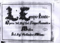 Accademia Barocca, audizioni per cantanti under 35, L'Empio Punito
