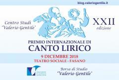 """PREMIO INTERNAZIONALE DI CANTO LIRICO Borsa di Studio """"Valerio Gentile"""" XXII edizione"""