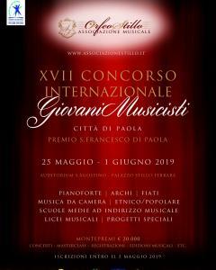 XVII edizione del CONCORSO INTERNAZIONALE GIOVANI MUSICISTI CITTA' DI PAOLA - PREMIO S. FRANCESCO DI PAOLA