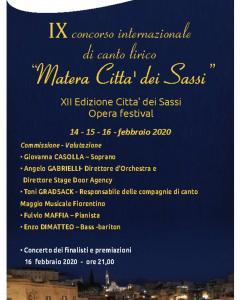 """IX CONCORSO LIRICO INTERNAZIONALE """"MATERA CITTÀ DEI SASSI"""""""