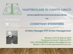 Masterclass di canto lirico con l'agente Christian Starinieri