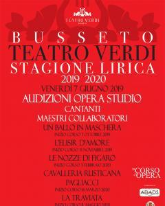 Audizioni per Opera Studio per cantanti e maestri collaboratori- Stagione Lirica al Teatro Verdi di Busseto 2019/2020